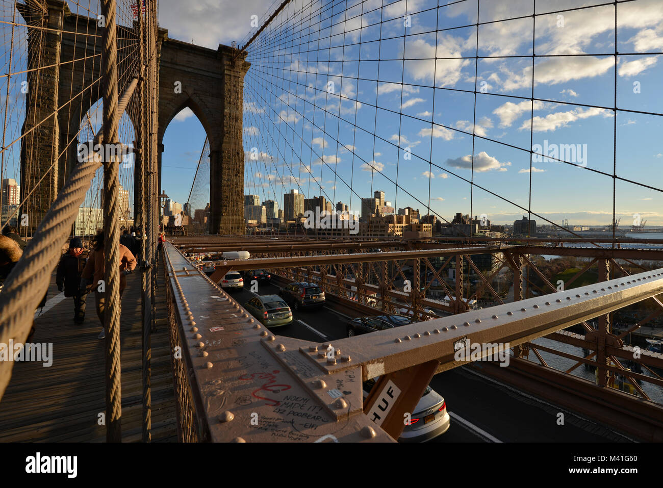 Brooklyn bridge at sunset, New York, Usa - Stock Image