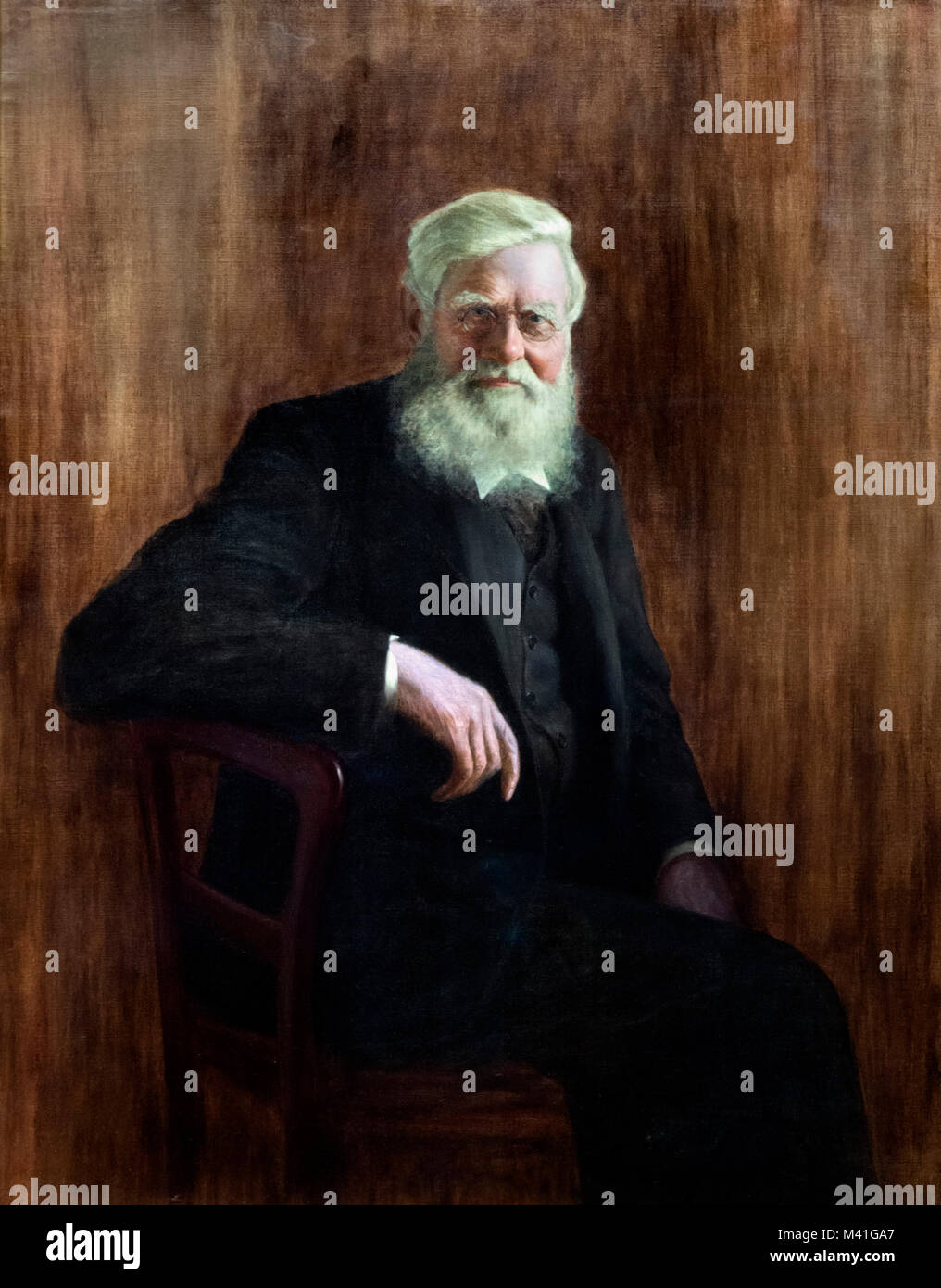 Alfred Wallace. Portrait of the English naturalist, Alfred Russel Wallace (1823-1913), by J W Beaufort, 1923 - Stock Image