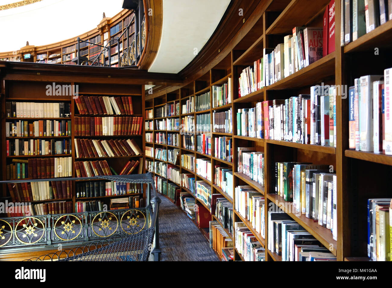 The Circular Wooden Book Shelves in the Picton Reading Room in Liverpool Central Library.  Curved, Curving Stock Photo