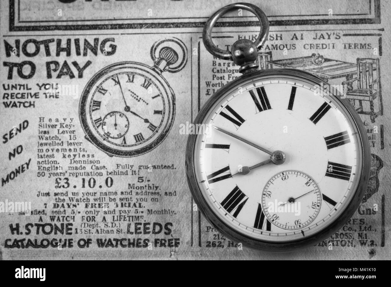 Vintage pocket watch in Black and White. - Stock Image
