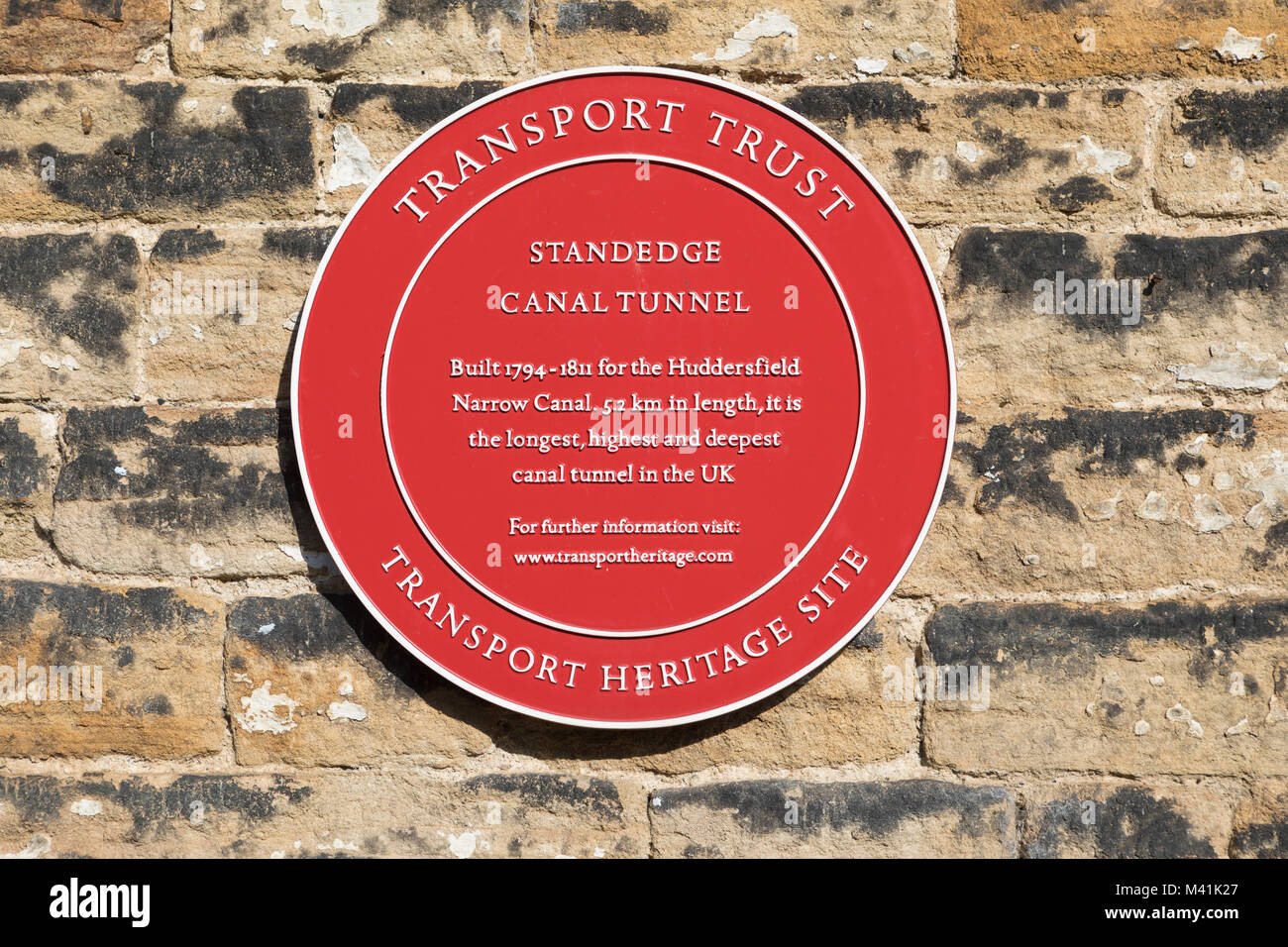 Signage at the  Standedge tunnel on the Huddersfield Narrow canal - Stock Image