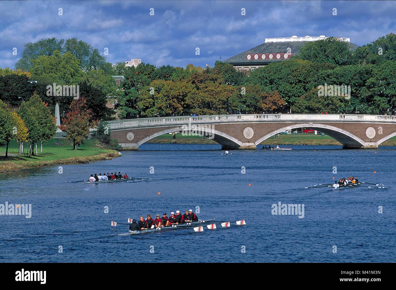 United States, Massachusetts, Harvard university in Cambridge, bridge on the Charles River and training of the students Stock Photo