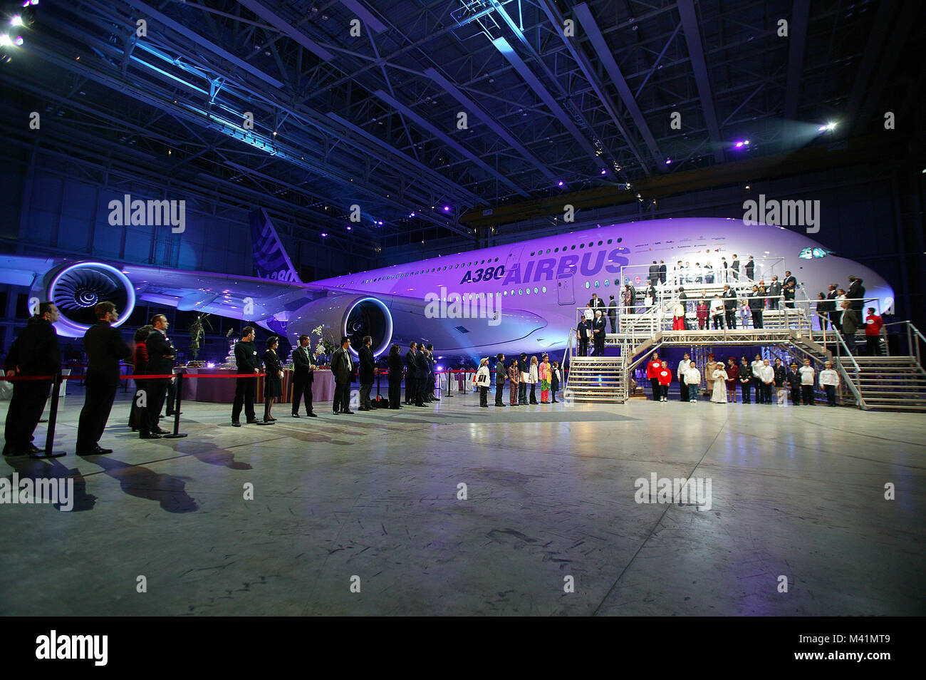 France, Haute Garonne, Toulouse city, Airbus A380 presentation (the biggest carrier of the world) in Jean Luc Lagardere's - Stock Image