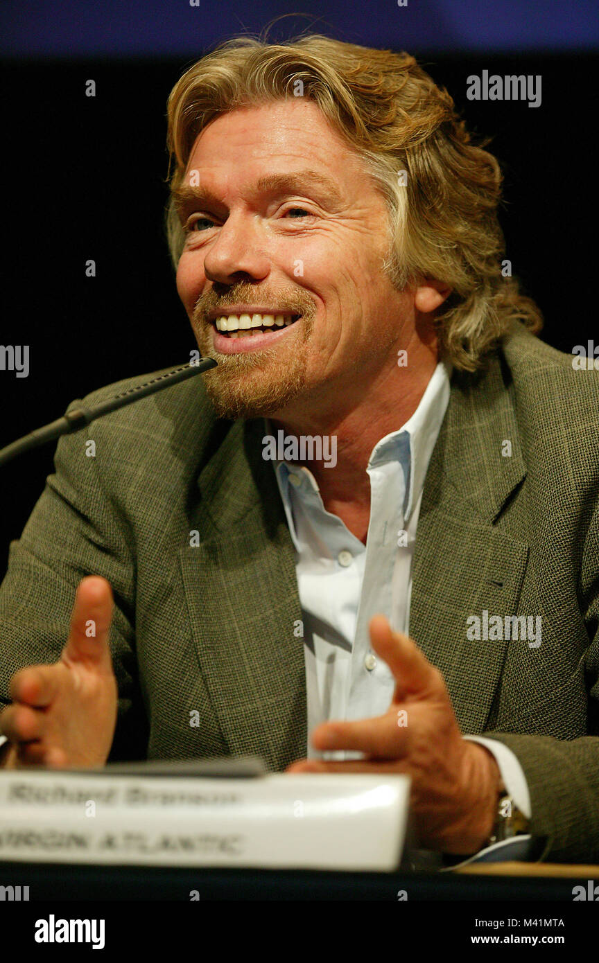 France, Haute Garonne, Toulouse, President of Virgin, Richard Branson during Airbus A380 presentation (the biggest - Stock Image