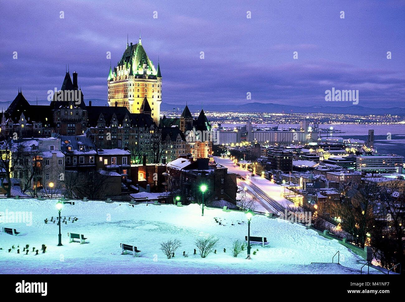 Canada, Quebec Province, Quebec City, Old Town listed World Heritage by UNESCO, Chateau Frontenac from the plains Stock Photo