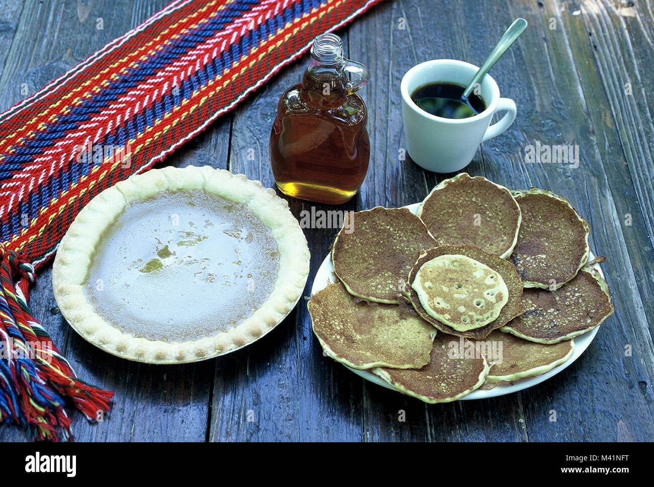 Canada, Quebec Province, traditional dishes, sugar pie, maple syrup and pancakes - Stock Image