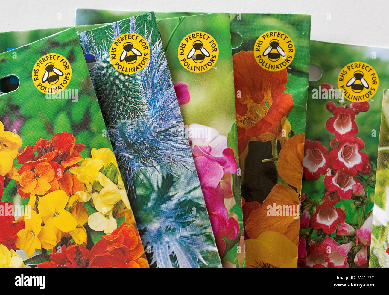 Colourful seed packets displaying RHS perfect for pollinators bee-friendly logo UK - Stock Image