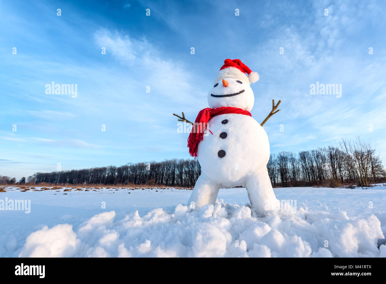 28d697dc6fa41 Funny snowman in red hat Stock Photo  174602986 - Alamy