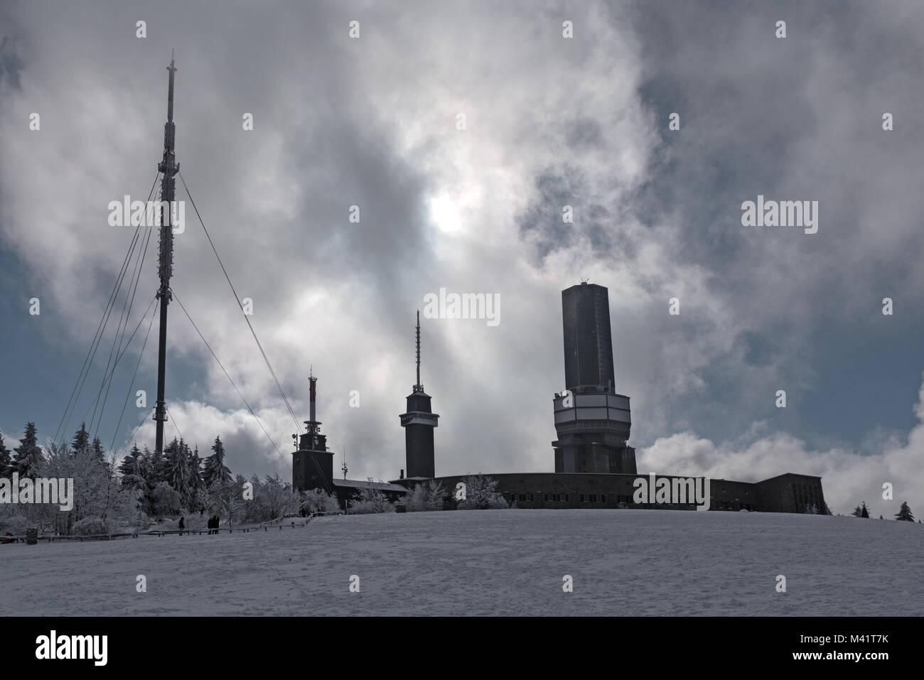 Transmitting stations on the Feldberg in the Taunus in winter, Hesse, Germany - Stock Image