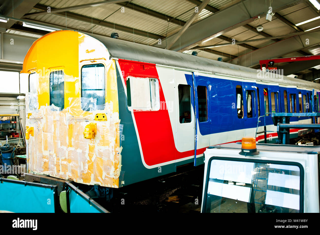 Electric Multiple Unit undegoing restoration at Locomotion railway museum Shildon County Durham - Stock Image