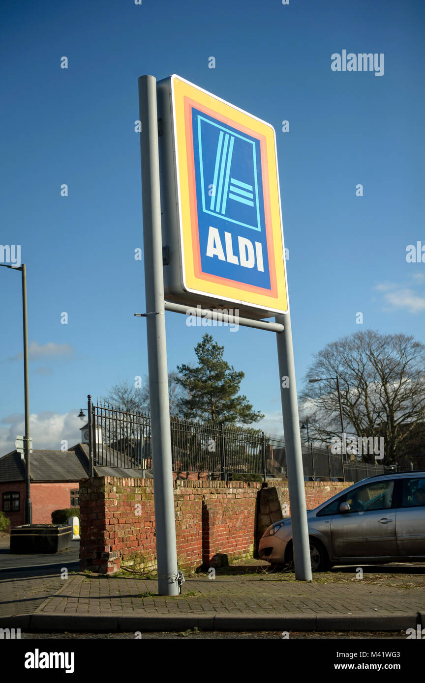 Aldi store with sign in Leominster UK. Shop front. - Stock Image