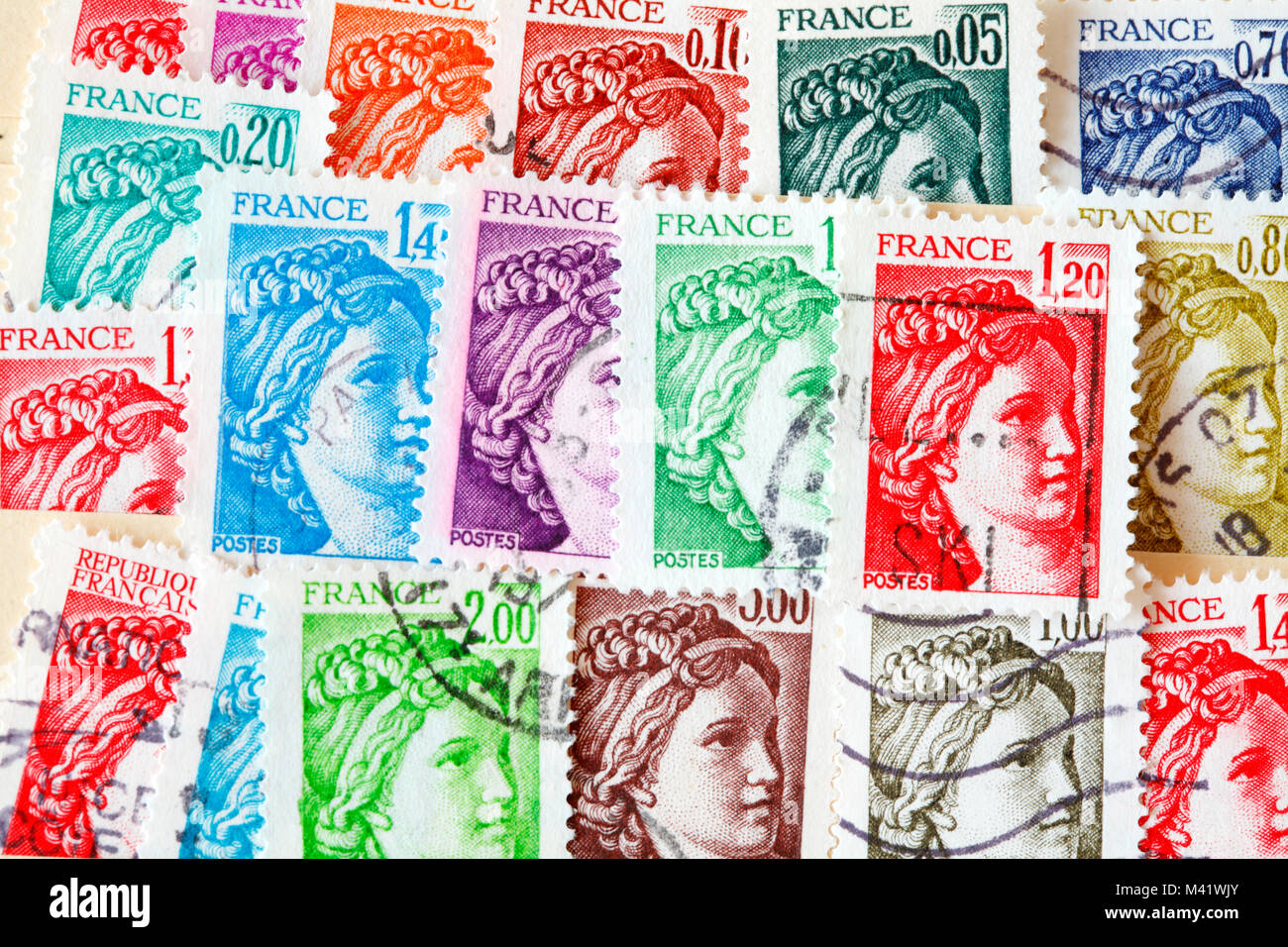 colorful stamped old French stamps Stock Photo