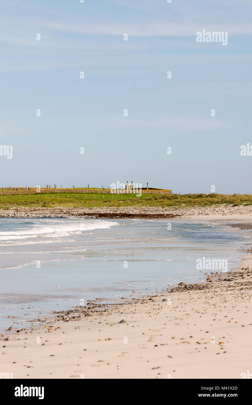 Ard Michael cemetery, viewed from the beach, Stoneybridge, Isle of South Uist, Outer Hebrides, Scotland, UK - Stock Image