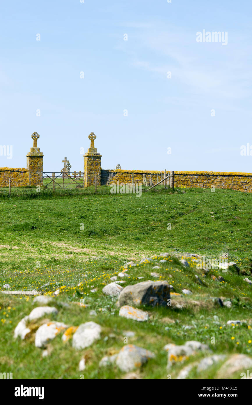 Ardmichael Cemetery and burial ground, Isle of South Uist, Outer Hebrides, Scotland, UK - Stock Image