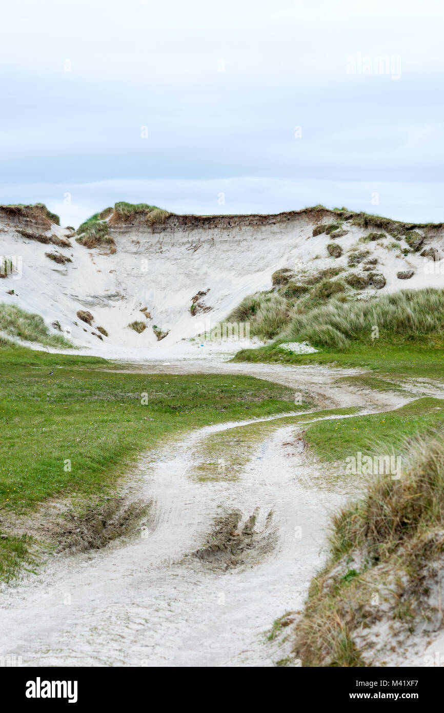 Cladh Hallan grass-covered sand dunes and site of nesting birds, Daliburgh, Isle of South Uist, Outer Hebrides, - Stock Image