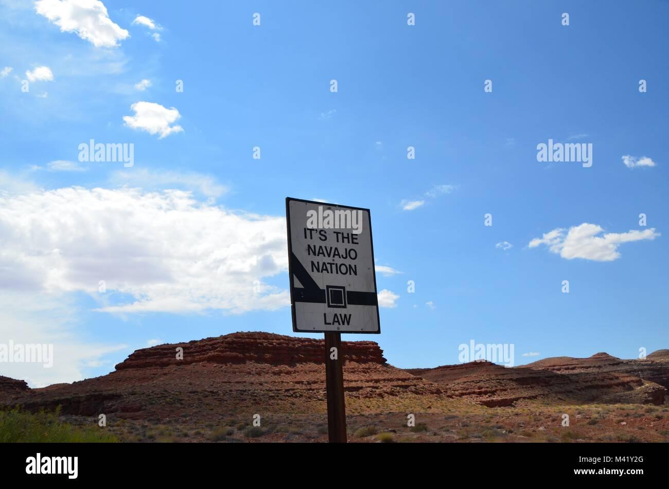 seat belt warning to motorists on navajo indian reservation USA - Stock Image