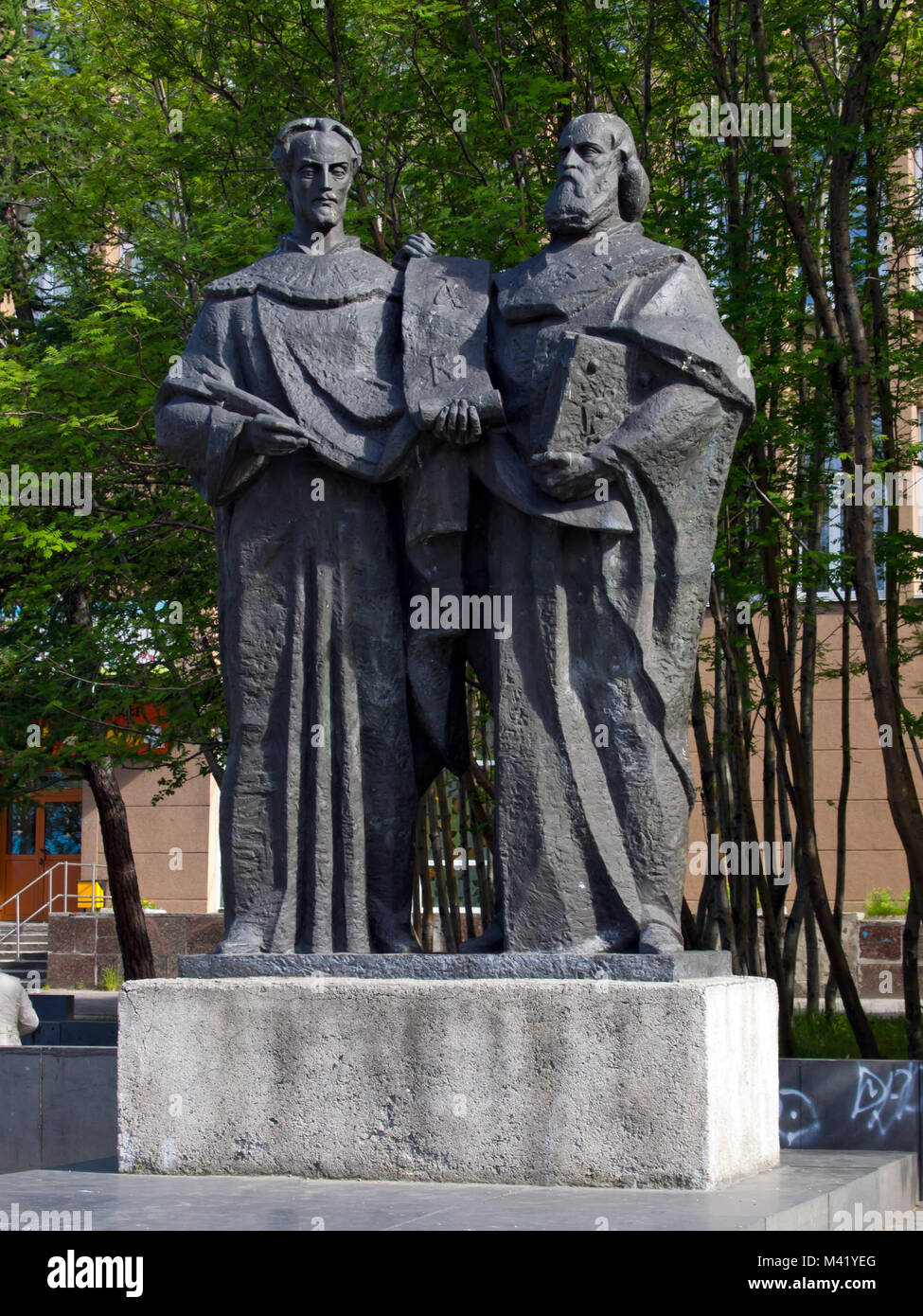 Murmansk, Russia - June 19, 2013, Monument to the creators of the Slavic alphabet Saints Cyril and Methodius - Stock Image