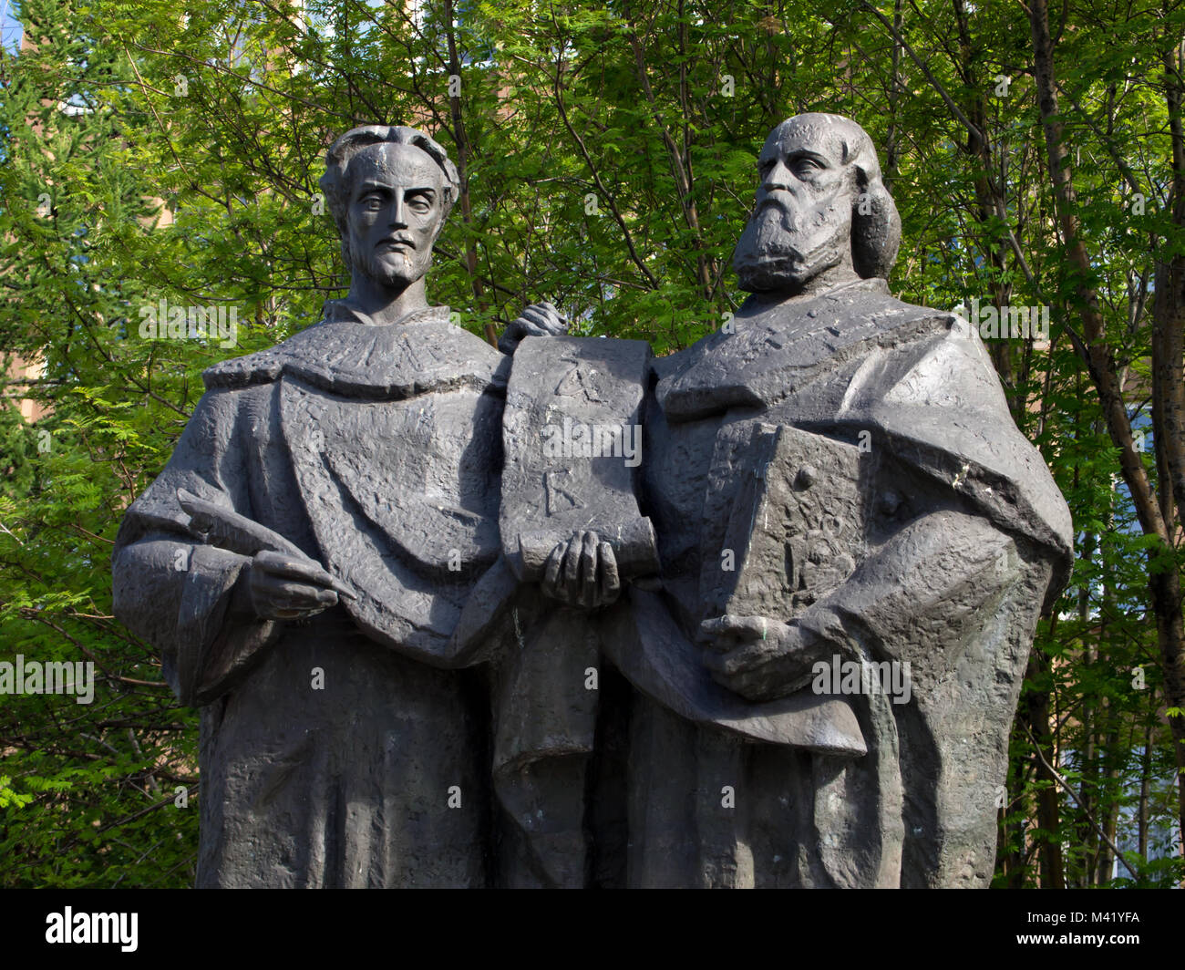 Murmansk, Russia - June 19, 2013, Fragment monument to the creators of the Slavic alphabet Saints Cyril and Methodius - Stock Image