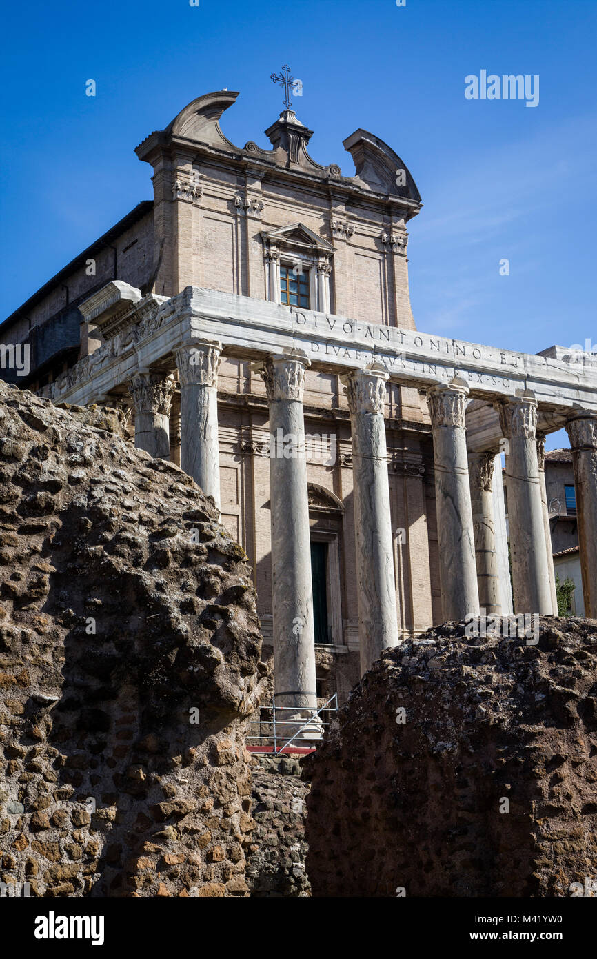 Temple of Antoninus and Faustina. Rome, Italy.  Adapted as a Roman Catholic church, namely, the Chiesa di San Lorenzo - Stock Image