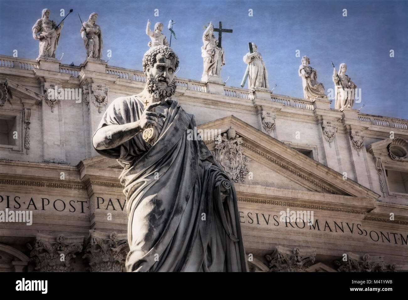 Sculptures adorn St. Peters Square and Vatican City in Rome, Italy. - Stock Image
