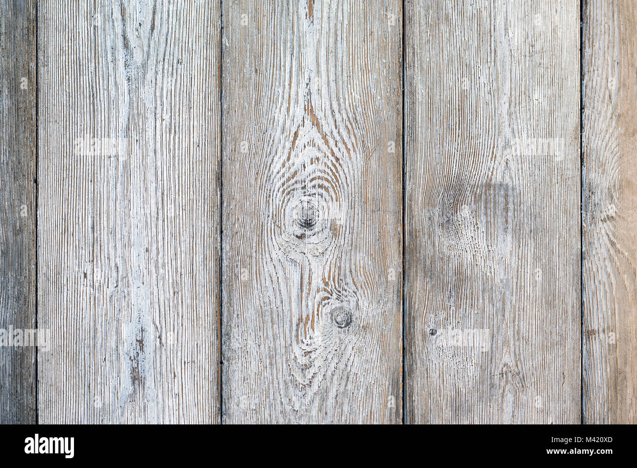Vintage painted old wood planks with cracks, scratches and shabb - Stock Image