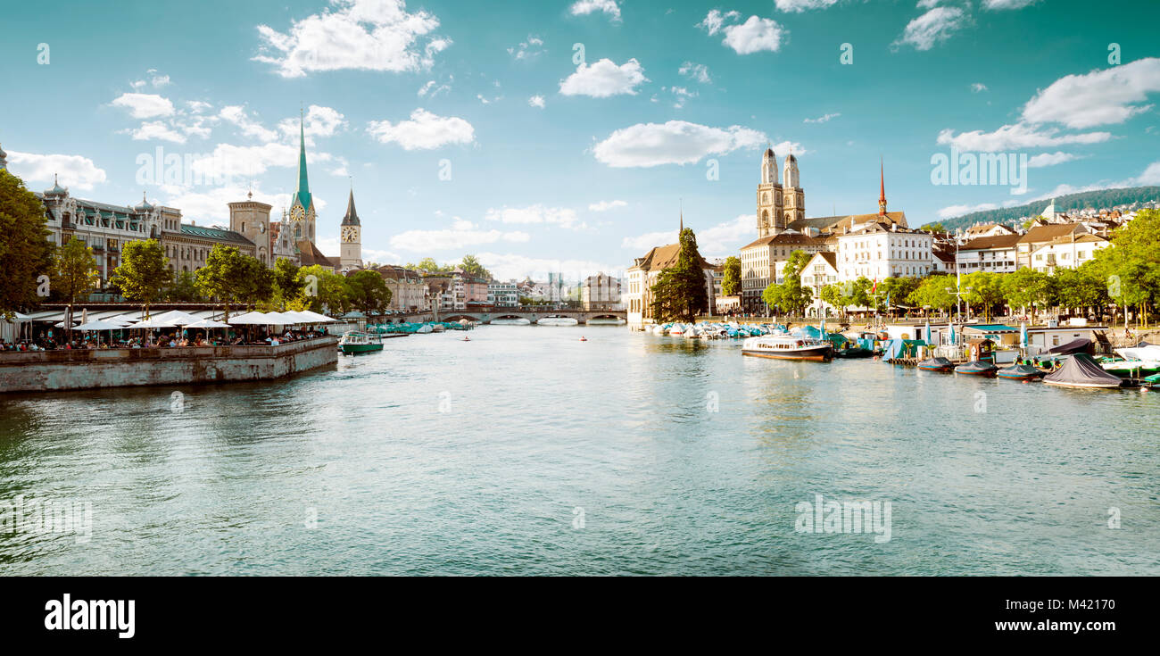 Panoramic view of historic Zurich city center, Switzerland - Stock Image