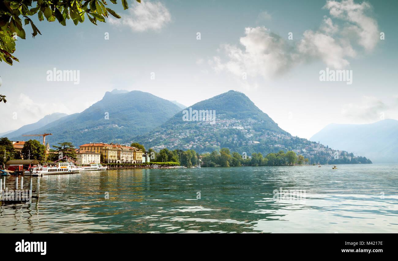View to Lugano city, Lugano lake, Ticino, Switzerland Stock Photo
