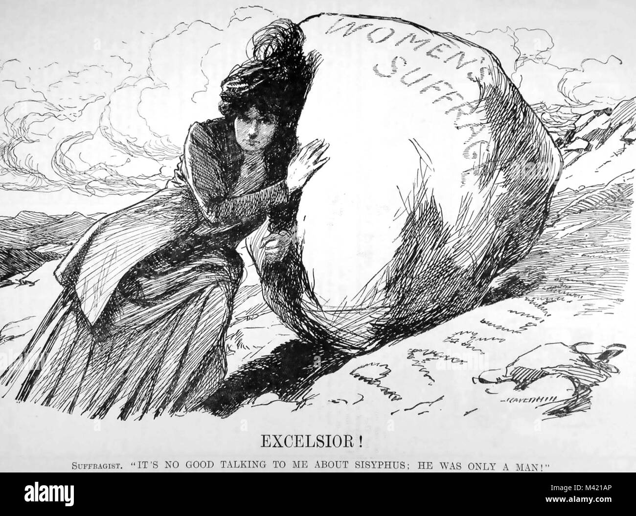 SUFFRAGETTE CARTOON from Punch in 1910 shows the difficulty of persuading Parliament to legislate for women to have - Stock Image