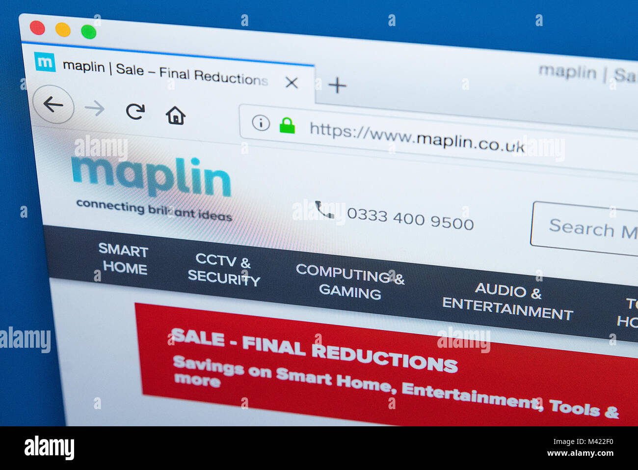 LONDON, UK - FEBRUARY 8TH 2018: The homepage of the official website for Maplin Electronics - the UK retailer of - Stock Image