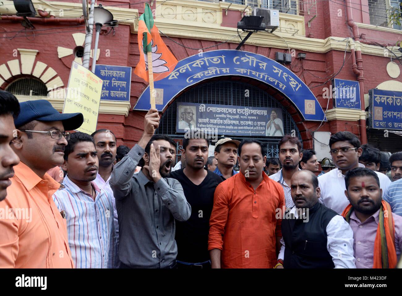 Kolkata, India. 13th Feb, 2018. Bharatiya Janta Party youth wing activist take part in a demonstration against Kolkata - Stock Image