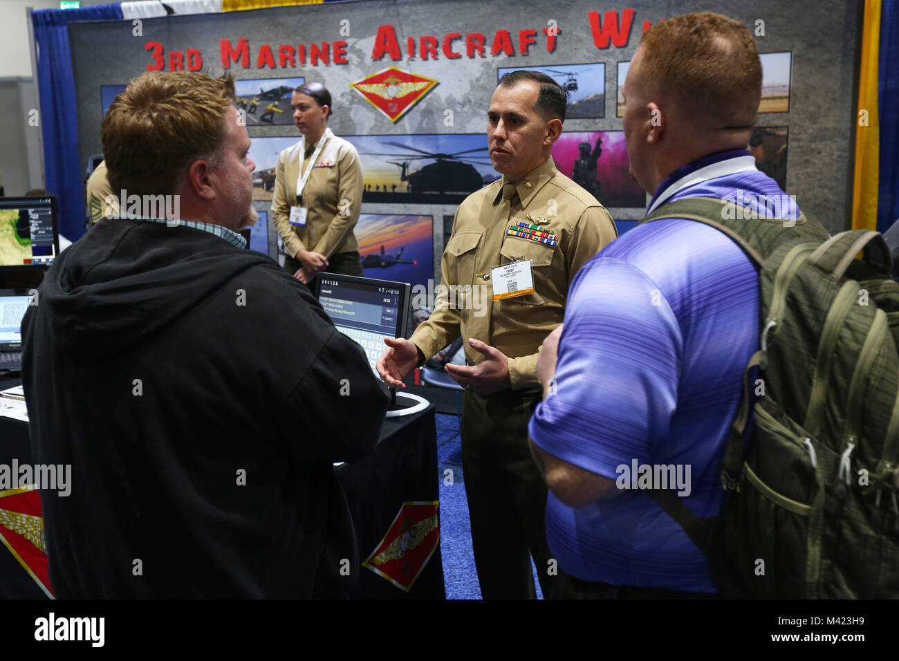 Maj. Salvador Jauregui, the Marine Operational Test Squadron One science and technology officer, answers aviation Stock Photo