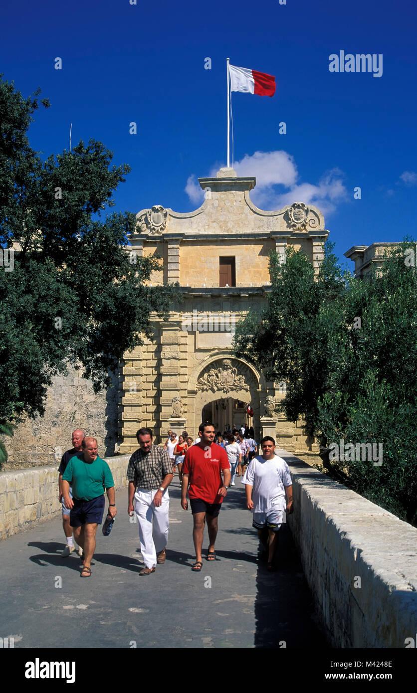Town gate, Mdina, Malta, Europe - Stock Image