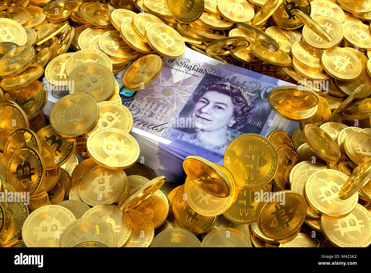 Stack of GBP pound sterling notes surrounded by Bitcoins - Stock Image