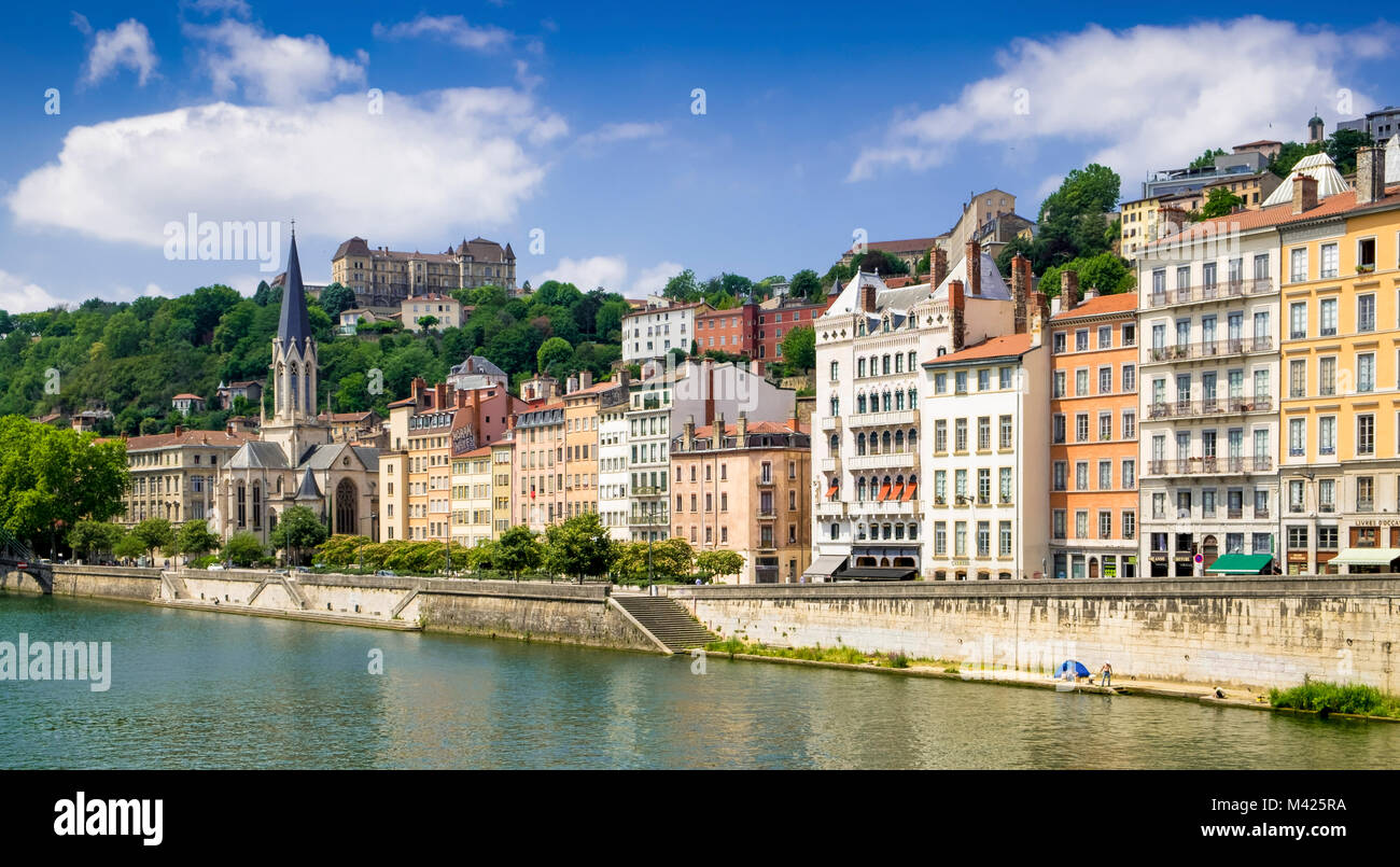 Old Town buildings on the river Rhone, Lyon, France - Stock Image