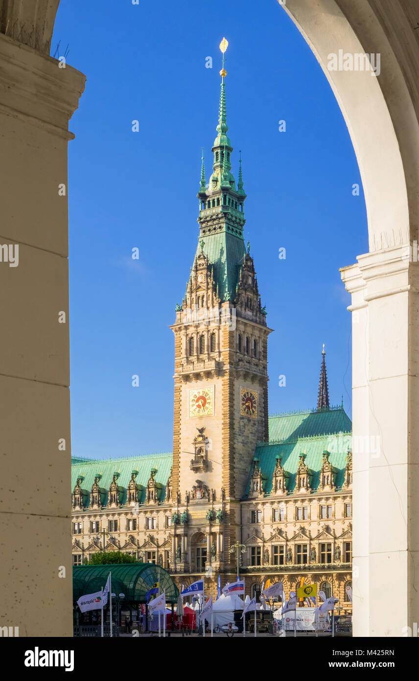 The Rathaus city hall in Hamburg, Germany - Stock Image