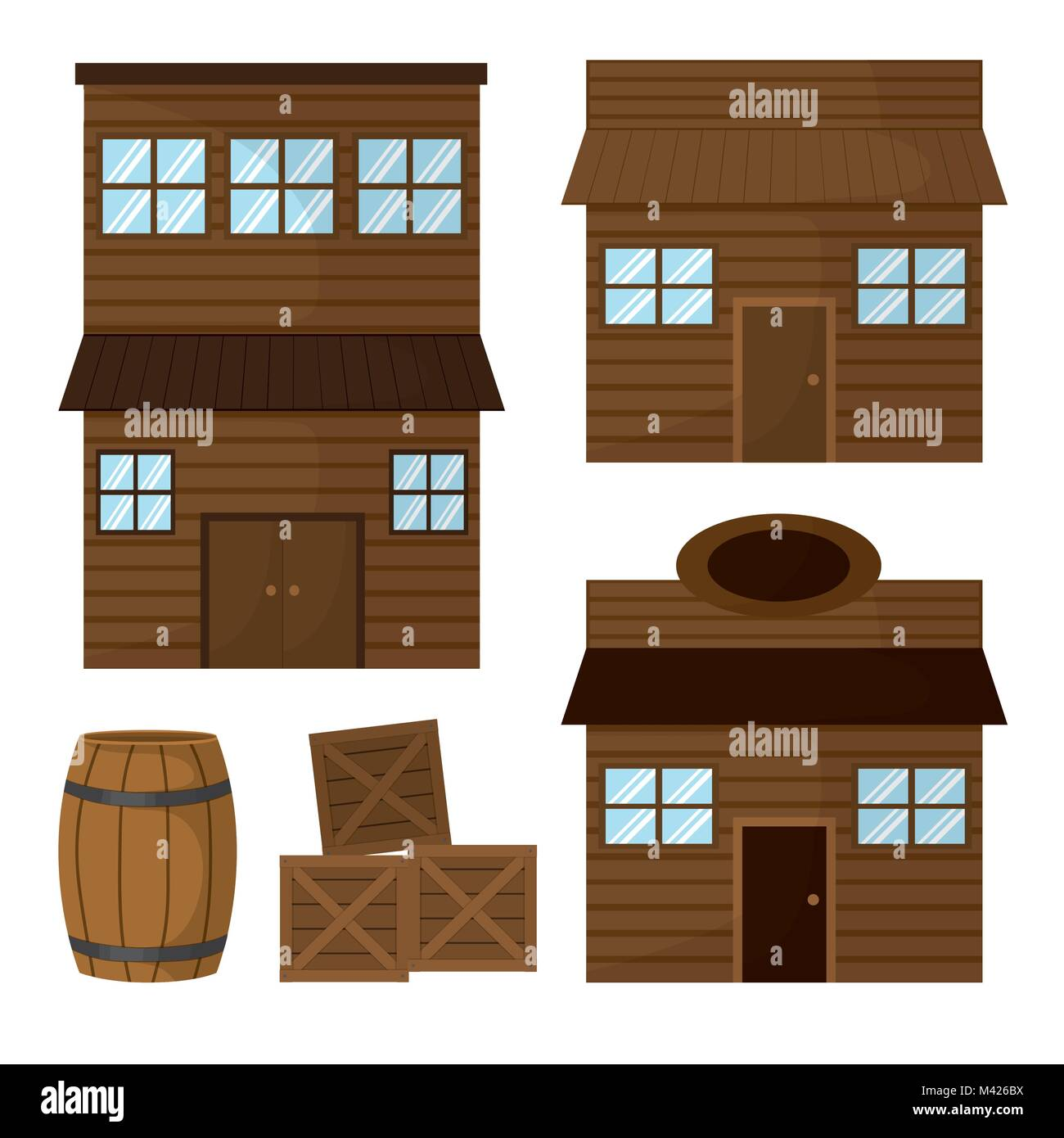 Wooden houses and shop - Stock Image