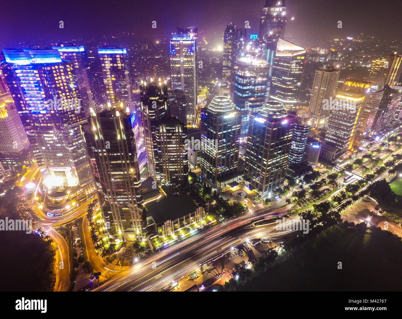 Business district of Jakarta city. - Stock Image