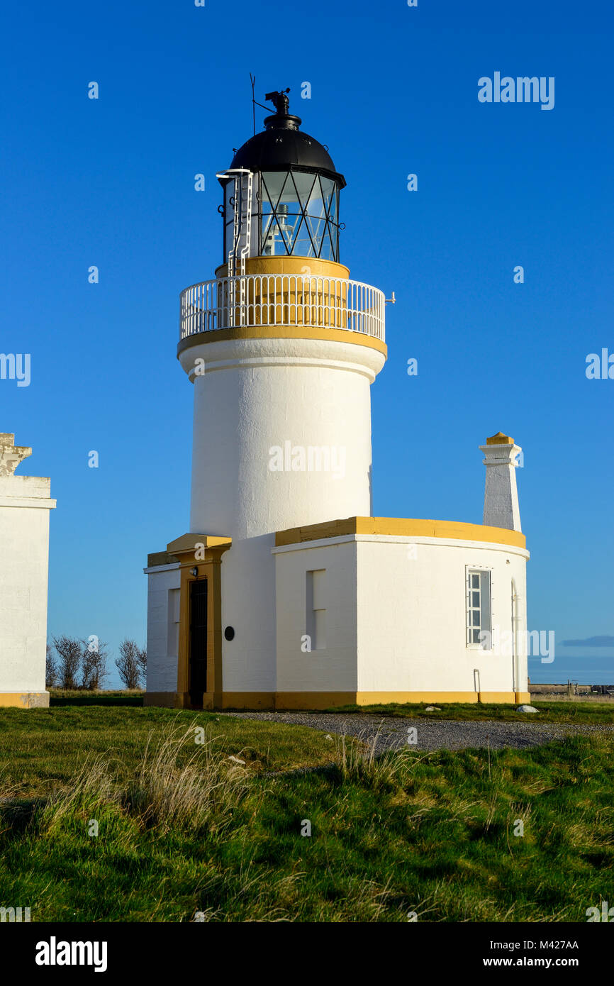 Chanonry Lighthouse at Chanonry Point on the Black Isle in Ross & Cromarty, Highland Region, Scotland - Stock Image