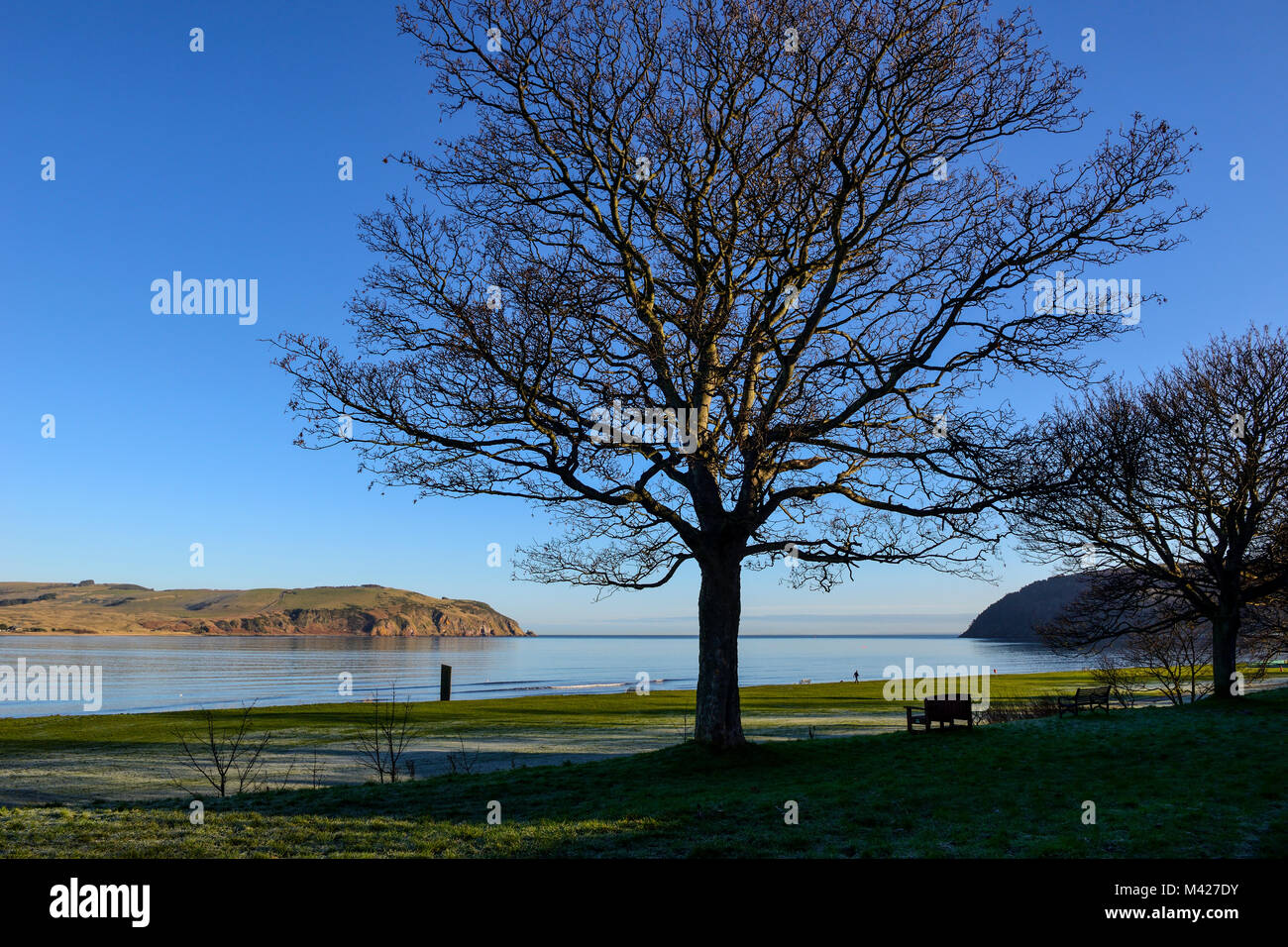 View across entrance to Cromarty Firth to Moray Firth from the coast town of Cromarty on the Black Isle in Ross Stock Photo