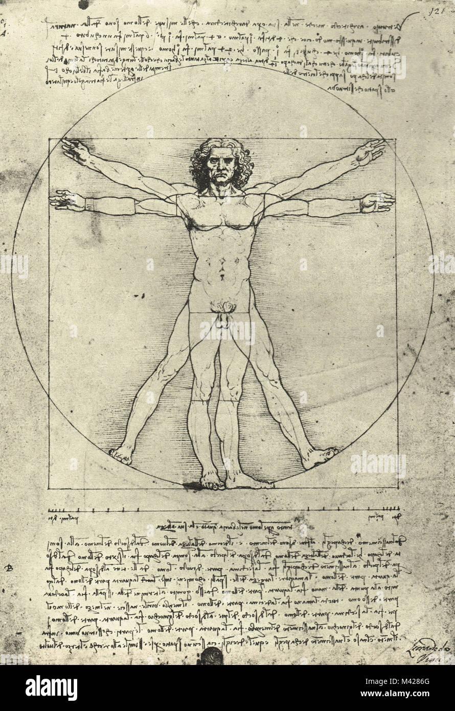 Vitruvian Man, Leonardo Da Vinci, Circa 1490 - Stock Image