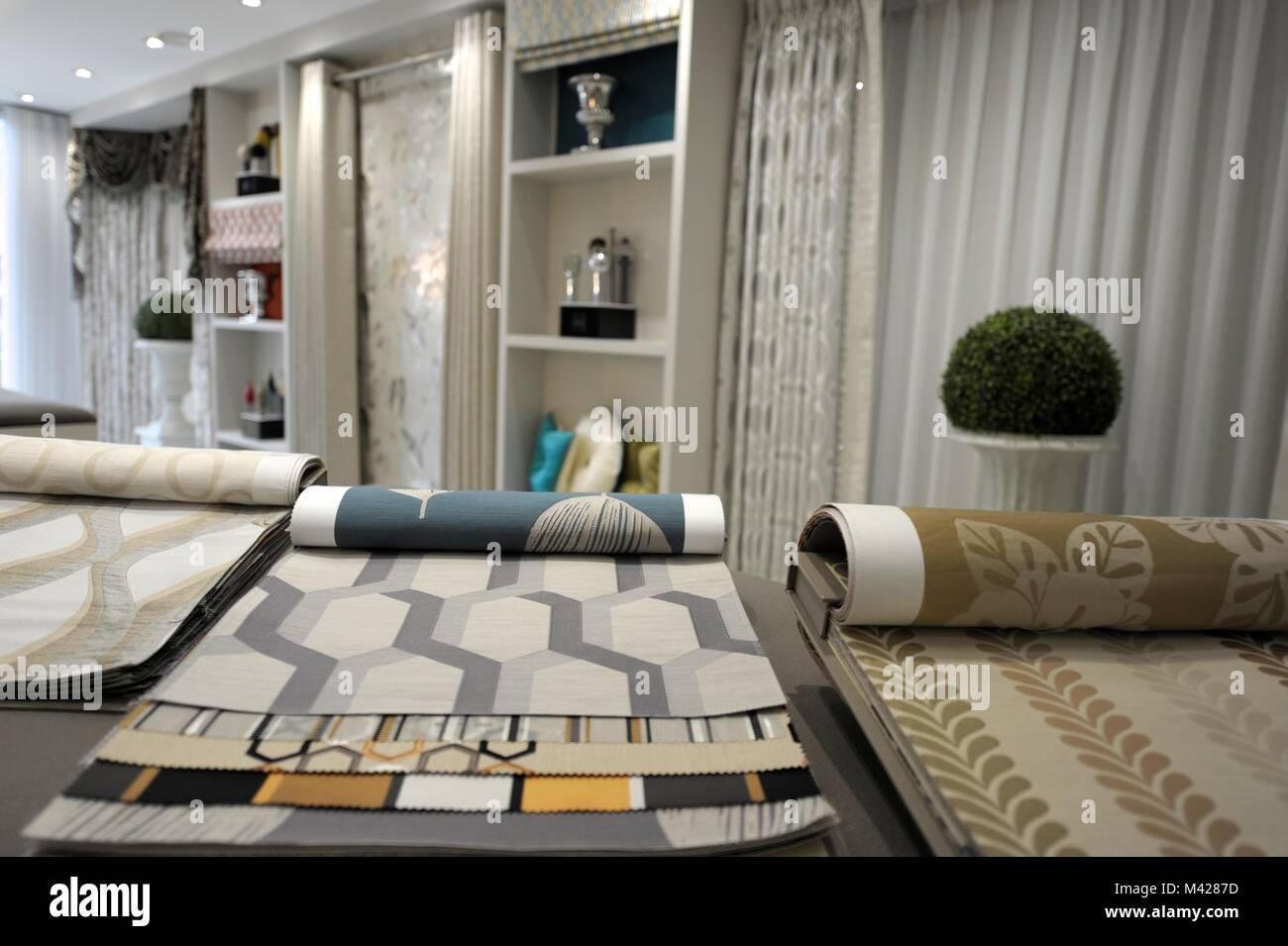 Interior Design Showroom Display Of Materials Stock Photo Alamy