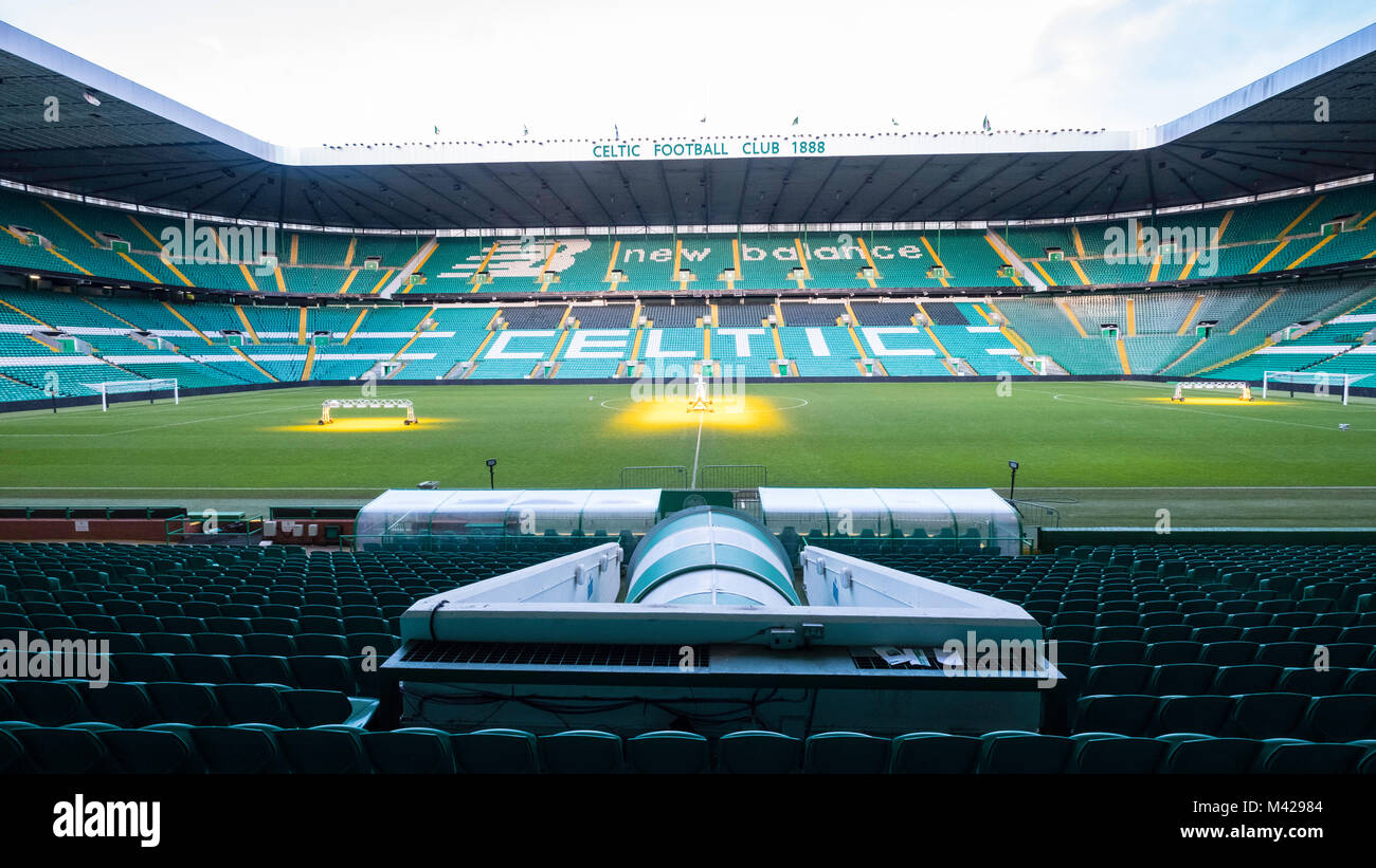 View of stands and pitch at Celtic Park home of Celtic Football Club in Parkhead , Glasgow, Scotland, United Kingdom - Stock Image