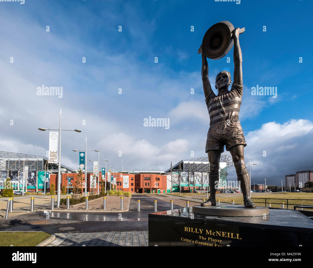 Statue of Billy McNeil outside Celtic Park home of Celtic Football Club in Parkhead , Glasgow, Scotland, United - Stock Image