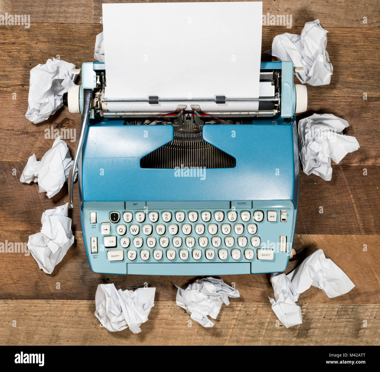 Old electric typewriter for novel with many failed attempts - Stock Image