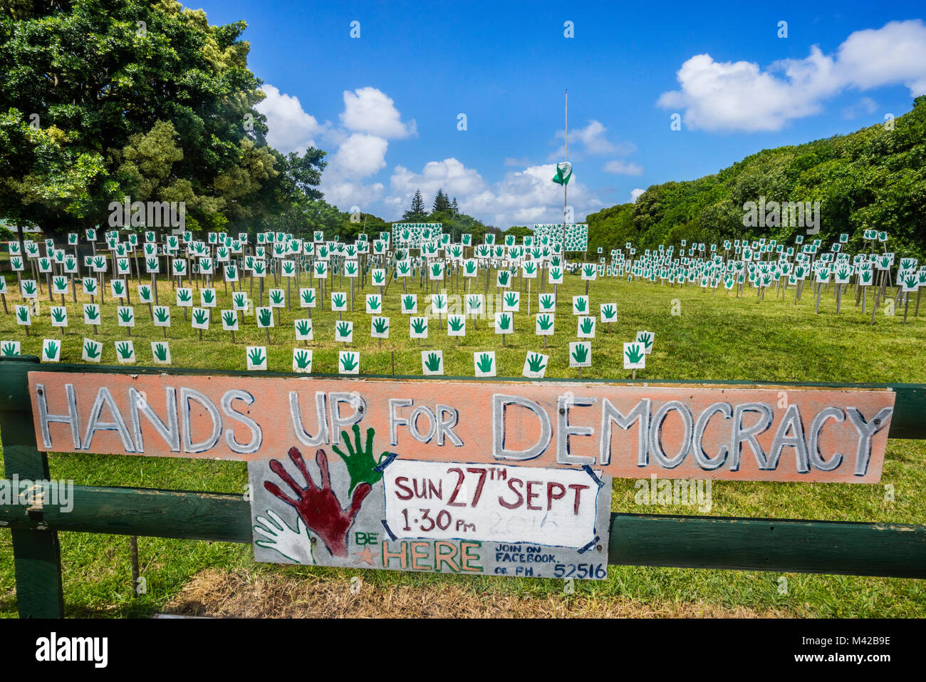 Norfolk Island, Australian external territory, Hands up for Democracy Park at Burnt Pine, an initiative of Norfolk - Stock Image