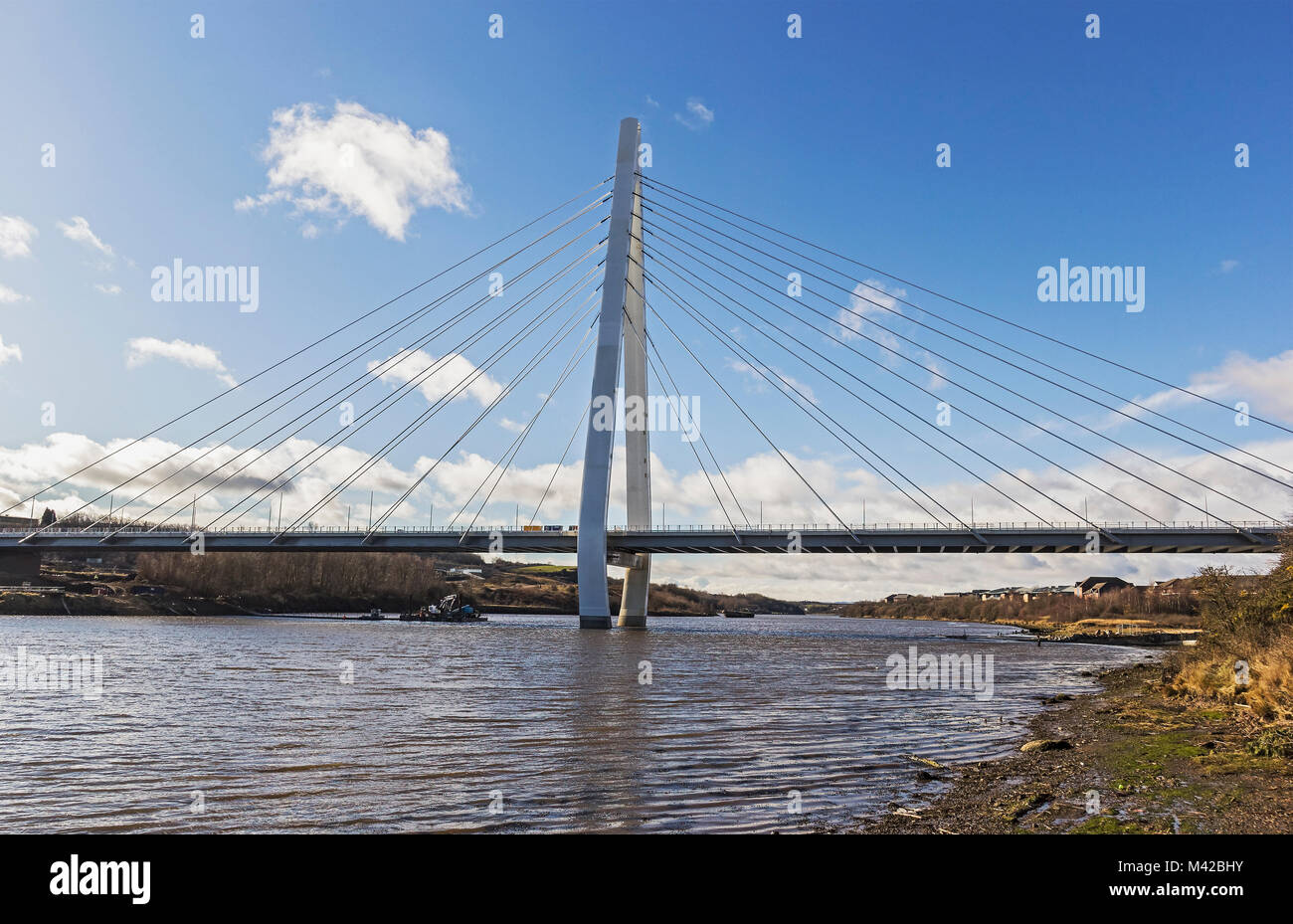 The Northern Spire bridge over the river Wear, Sunderland, UK, has been built to last 120 years at a cost of around - Stock Image