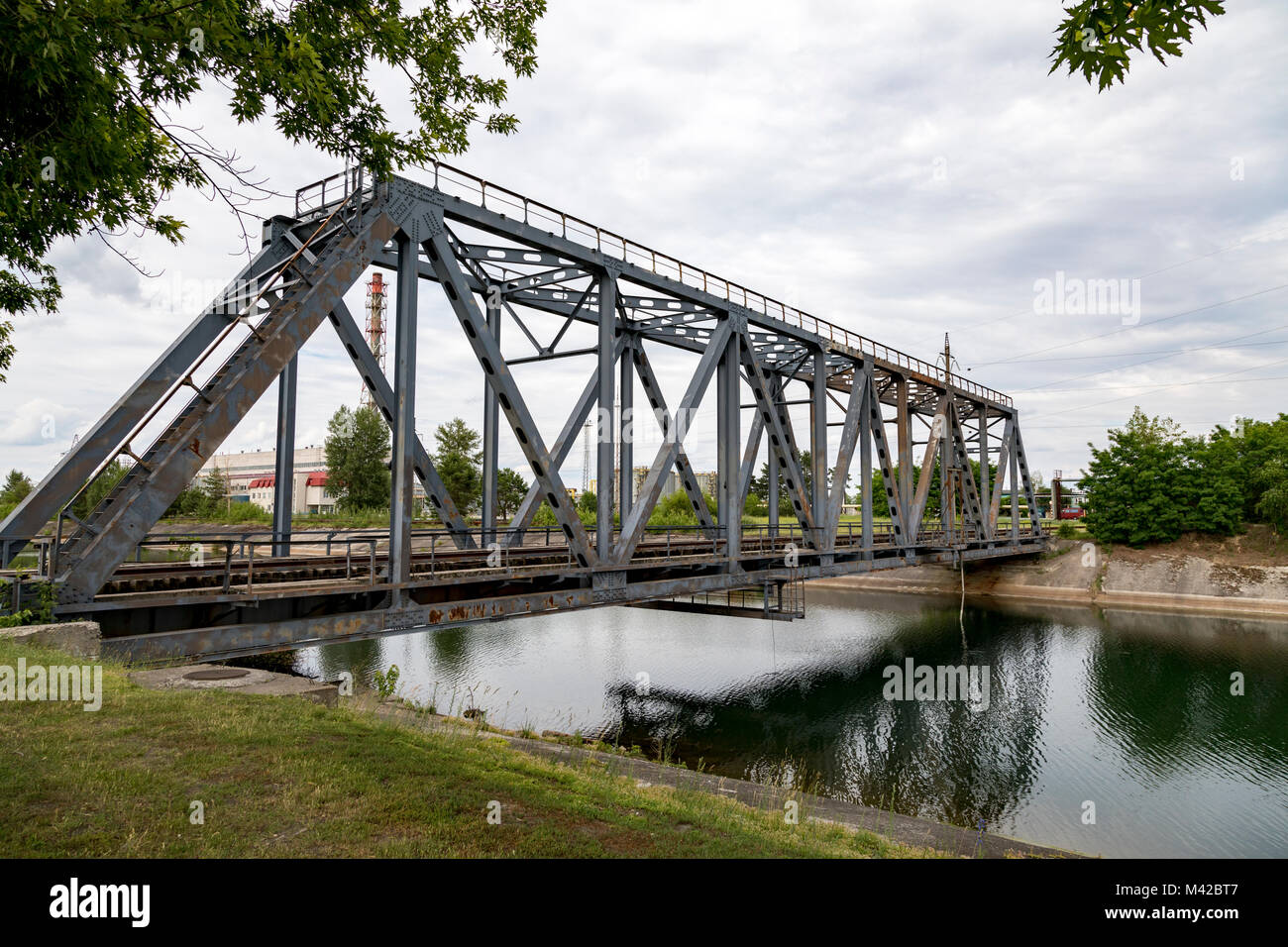 The railway bridge at the Chernobyl nuclear power plant - Stock Image