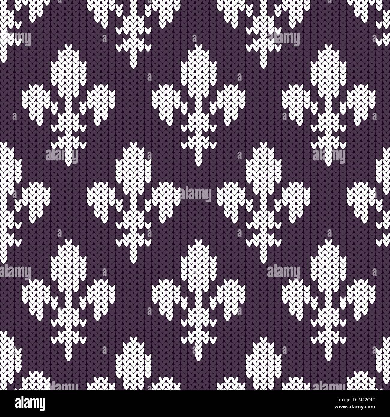Fleur De Lis On A Seamless Vector Woolen Pattern Knitted Woolen Stock Vector Image Art Alamy