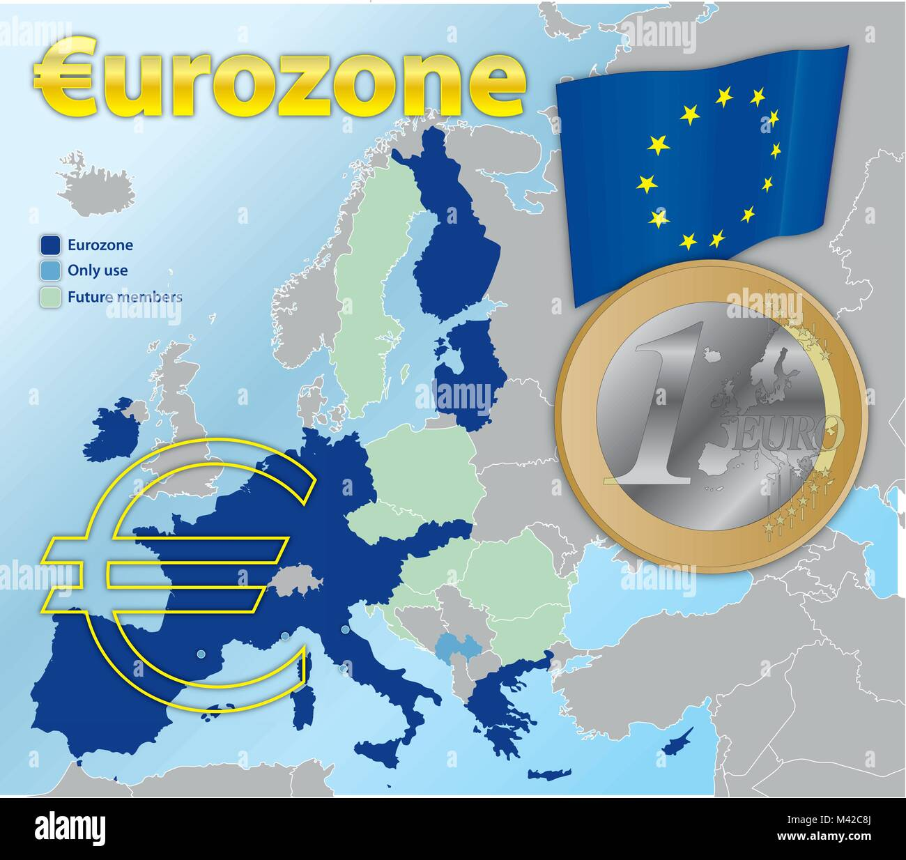 Euro zone currency map and 1 euro coin, vector illustration - Stock Image