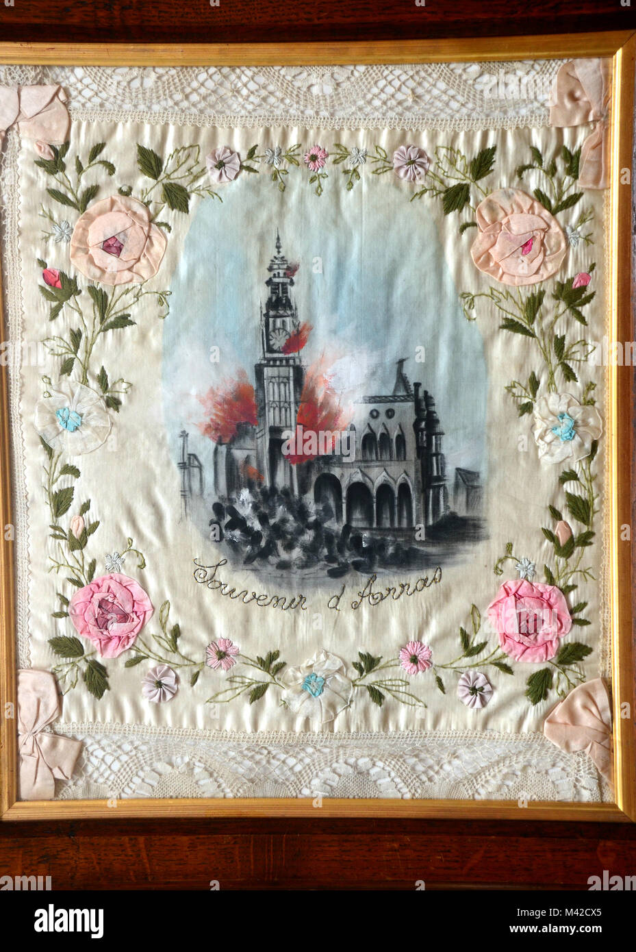 Silk painting and embroidery commemorating ww1 battle of Arras, France 1914 - 1918 - Stock Image